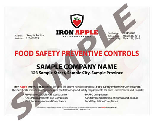 Iron Apple Compliance Certificate FSMA Sanitary Transport