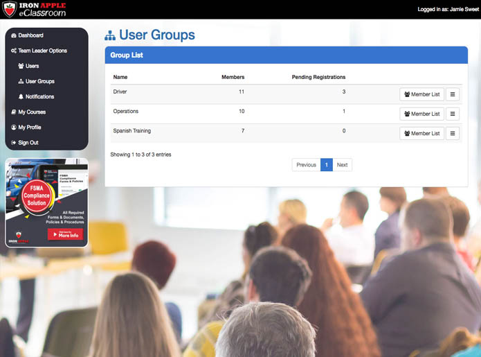 Company User Groups - eLearning Training Platform