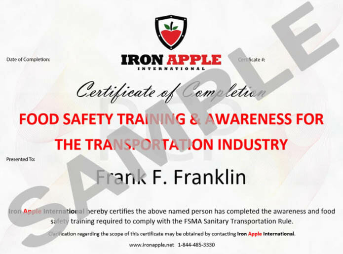 Training Certificate Of Completion Sample  Iron Apple International