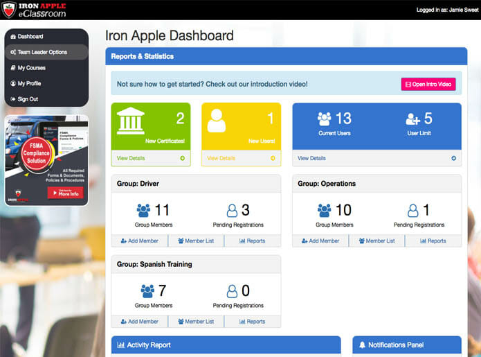 Iron Apple eClassroom - Team Leader Dashboard