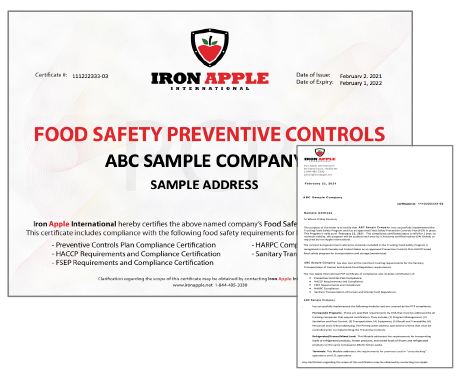 Iron Apple HACCP Certificate & Letter of Assurance